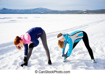 exercícios, meninas, dois, aeróbica