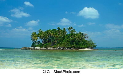 Island in the sea with tropical vegetation. Video FullHD...