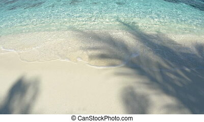 Gentle Waves Splash over White Sand at this Tropical Beach...
