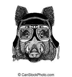 Vintage images of Hog for t-shirt design for motorcycle,...