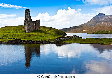 Scottish castle - Scotland, Sutherland. Path to a ruiner of...