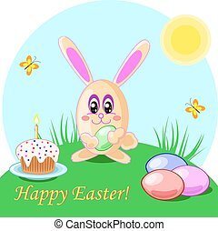 Vector illustration of easter rabbit eggs and cake. Holliday...