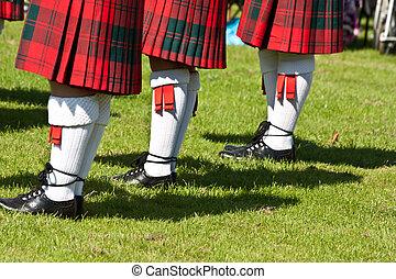 escocés, faldas escocesas