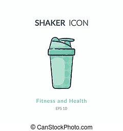 Sport shaker icon isolated on white. - Sports equipment...