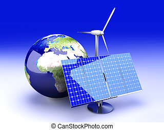 Alternative Energy - Europe - 3D rendered Illustration.