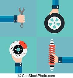Car service flat design set with wheel,shock absorber,brake...