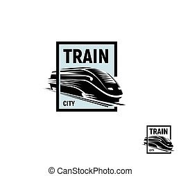 Isolated abstract black color train in blue square logo on white background, monochrome modern railway transport logotype, railroad element in engraving style vector illustration