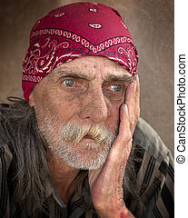 Pensive Portrait of Homeless Man - Portrait of homeless man