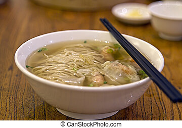 Wanton Dumpling Soup Noodles at Singapore Hawker Stall