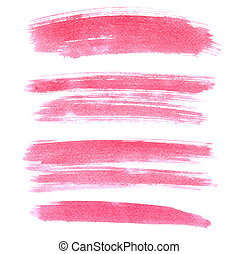 Set of pink brush strokes isolated on the white background....