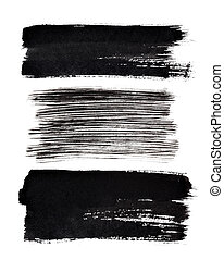 Set of black brush strokes isolated on the white background....