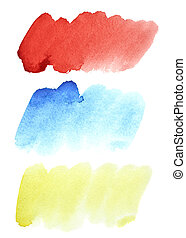 Set of colorful watercolor strokes - Set of colorful...