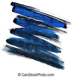 Blue and black zigzag brush stroke isolated on the white...