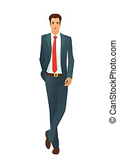 Vector illustration of character standing businessman in a suit