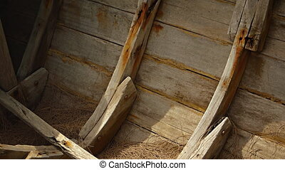 Frames old wooden boat. Thailand