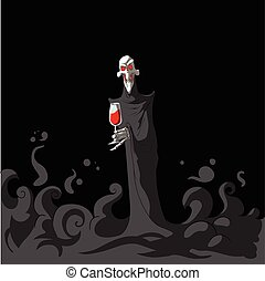 Death holding a glass of wine - Colorful vector illustration...
