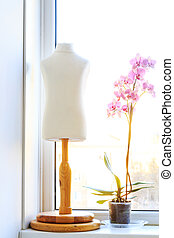 Orchid and dummy standing on the window