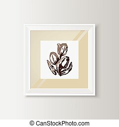 Tulips sketch in a frame. - Useful template with flowers....