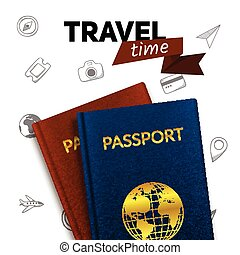 Passports and travel badge. - Vacation travel background....