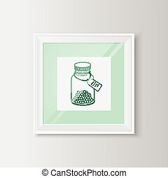 Drugs bottle sketch in a frame. - Useful template for...