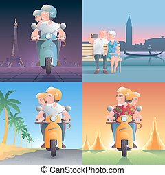 Set of old people driving scooter in front of pagoda and sitting in Venice vector illustrations
