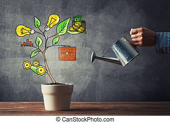 Drawn income tree in white pot for business investment...