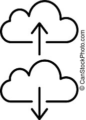 Cloud backup and restore signs linear icon. Vector...
