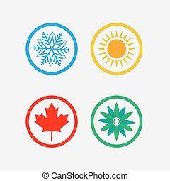 Season symbols, winter, spring, summer, autumn. Vector illustration