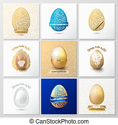 Set of Happy Easter Day greeting card with colored eggs and flowers.