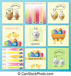 Set of Happy Easter Day greeting card and banners with colored eggs and flowers.
