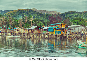 house in the slum for poor people - philippines house in the...