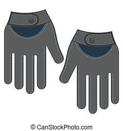 leather men gloves - Black leather men gloves. Flat vector...
