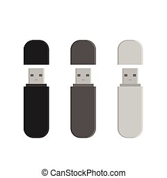Flash drive USB memory sticks isolated over white background