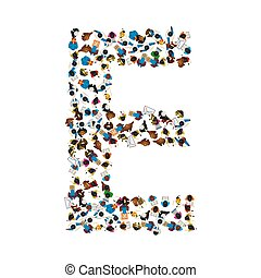 A group of people in the shape of English alphabet letter E...