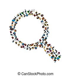 A group of people in a shape of a magnifying glass. Vector illustration.