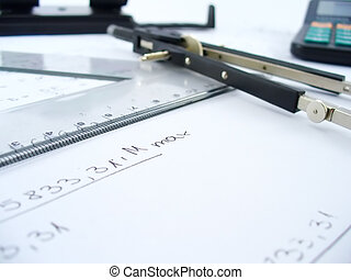 compasses and ruler - business work table