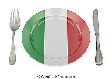 Italian cuisine concept, plate with flag of Italy. 3D rendering