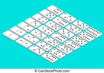 Full set of white isometric dominoes. Complete double-six...