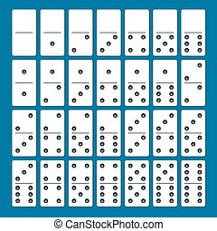 Full set of white dominoes with shadows on a blue...