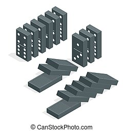Domino effect. Full set of black isometric dominoes isolated...