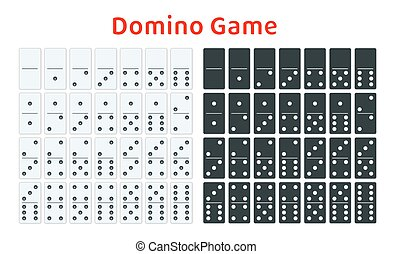 Full set of white and black dominoes isolated on white....