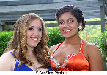 Prom Sisters Portrait - Portrait of two smiling teenage...