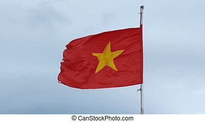 flagpole, bandiera,  vietnam, cielo, contro