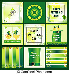 Set of St. Patrick`s Day Backgrounds and Icons with clover...