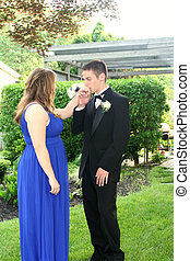 Teen Boy Kissing Prom Date\'s Hand - Teenage couple in prom...