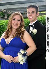 Young Prom Couple Outdoors
