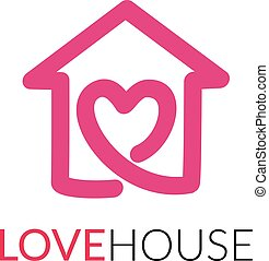 Simple icon of house with heart shape within. - House line...