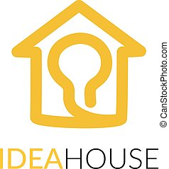 Simple icon of house with light bulb within. - House line...