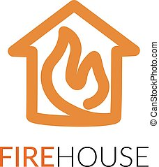 Simple icon of house with fire within. - House line art...