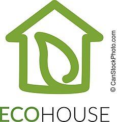Simple icon of house with leaf within. - House line art...